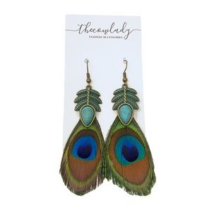 Peacock Feather Turquoise Boho Jewelry Earrings